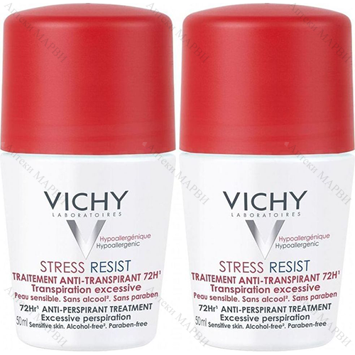ДУО-ПАКЕТ VICHY Stress Resist / ВИШИ, Дезодорант рол-он против интензивно изпотяване 72 ч., 2 х 50 мл.
