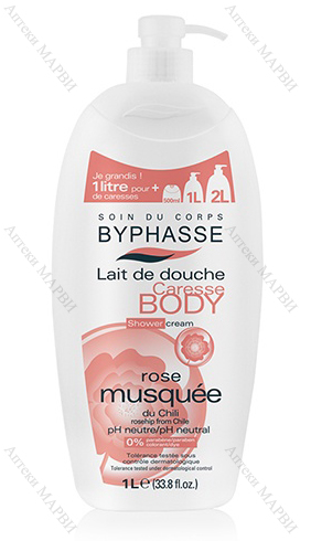 BYPHASSE Caress Body, Нежен душ-крем - с масло от шипка, 1 л.